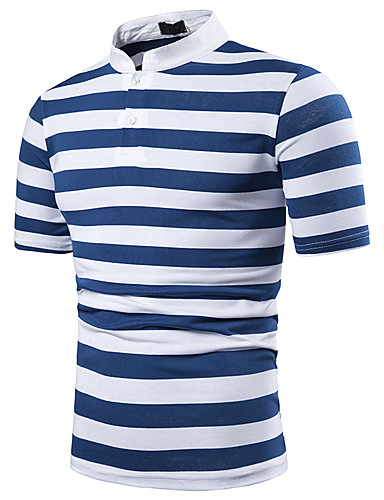 cheap Men's Clothing-Men's Polo Striped Tops Blue Red Yellow / Short Sleeve
