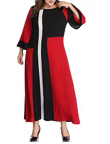 levne Šaty velkých velikostí-Dámské Větší velikosti Elegantní Pouzdro Šaty - Barevné bloky Maxi / Sexy
