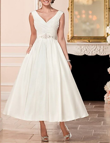 cheap Wedding Dresses-A-Line V Neck Ankle Length Satin Cap Sleeve Vintage Little White Dress / 1950s Wedding Dresses with Beading 2020