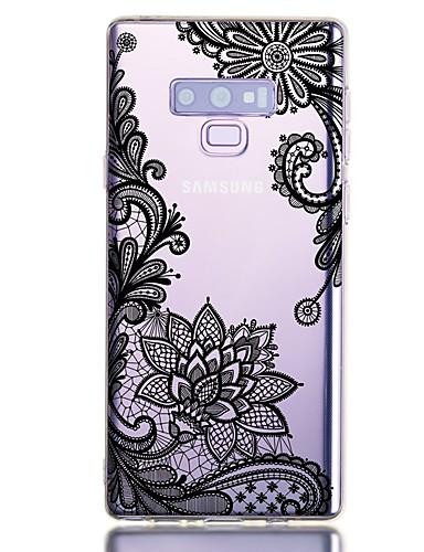 Capinha Para Samsung Galaxy Note 9 Antichoque / Transparente / Estampada Capa traseira Flor TPU