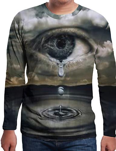 Rund hals EU / USA størrelse T-skjorte Herre - Ensfarget / 3D / Tegneserie, Trykt mønster Grå / Langermet