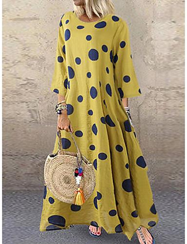voordelige Maxi-jurken-Dames Grote maten Uitgaan Street chic Wijd uitlopend Jurk - Polka dot Maxi