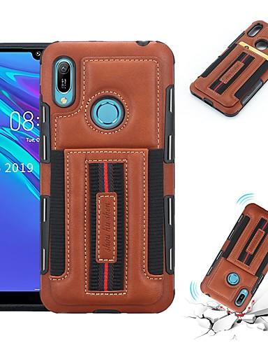 Etui Til Huawei Huawei P20 Pro / Huawei P20 lite / Huawei P Smart 2019 Kortholder / Støtsikker Bakdeksel Ensfarget Myk PU Leather