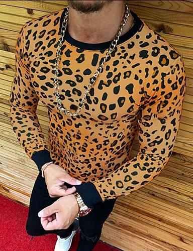 Rund hals EU / USA størrelse T-skjorte Herre - Leopard Hvit / Langermet