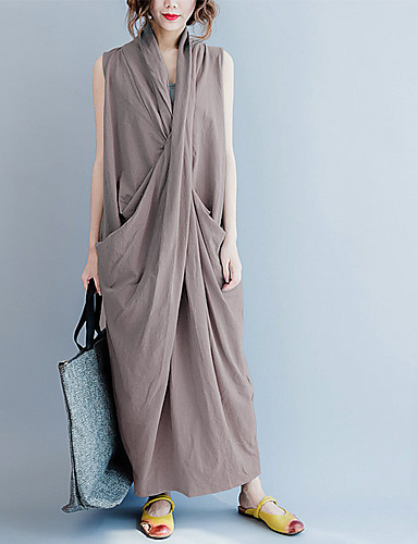 voordelige Maxi-jurken-Dames Vintage Chinoiserie Abaya Jurk - Effen, Split wrap Midi