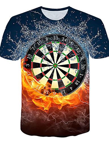 Ανδρικά Μεγάλα Μεγέθη T-shirt 3D Στρογγυλή Λαιμόκοψη Πλισέ / Patchwork Ουράνιο Τόξο / Κοντομάνικο