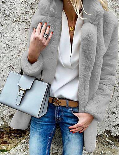 levne Dámské kabáty a trenčkoty-Dámské Denní Základní Podzim zima Větší velikosti Standardní Faux Fur Coat, Jednobarevné Košilový límec Dlouhý rukáv Umělá kožešina Velbloudí / Světle šedá / Bílá