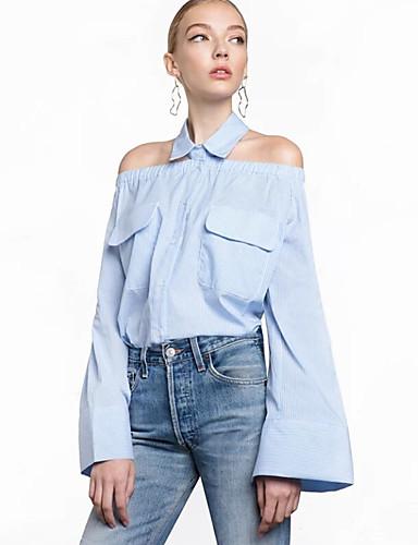 billige Skjorter til damer-Bomull Løstsittende Skjortekrage Skjorte Dame - Stripet, Flettet Vintage / Elegant Lyseblå