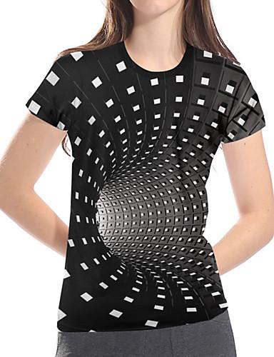 billige T-skjorter til damer-T-skjorte Dame - Geometrisk / 3D / Grafisk, Trykt mønster Grunnleggende / overdrevet Magiske kuber Svart