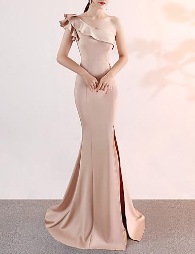 Havfrue Enskuldret Svøpeslep Sateng Sexy / Elegant & Luksuriøs Formell kveld Kjole 2020 med