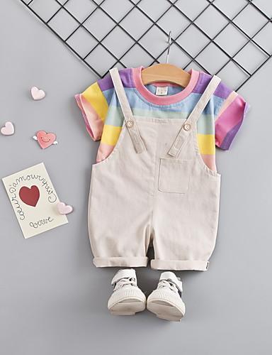 Baby Jente Aktiv / Grunnleggende Lapper Kortermet Normal Normal Bomull Tøysett Hvit