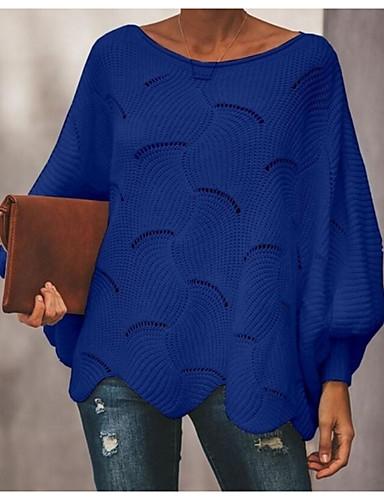 preiswerte Damen Oberteile-Damen Solide Langarm Aufflackern-Hülsen- Pullover Pullover Jumper, Rundhalsausschnitt Frühling / Herbst Schwarz / Weiß / Rosa S / M / L