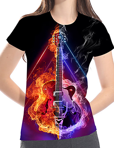 billige Dametopper-T-skjorte Dame - Fargeblokk / 3D / Grafisk, Trykt mønster Grunnleggende / Rock Fantastiske dyr Regnbue