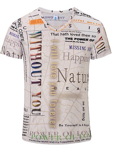 Homens Tamanho Europeu / Americano Camiseta 3D Decote V Bege / Manga Curta