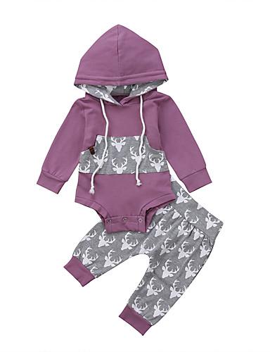 Μωρό Κοριτσίστικα Ενεργό / Βασικό Στάμπα Μακρυμάνικο Κοντό Σετ Ρούχων Βυσσινί