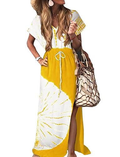 levne Maxi šaty-Dámské Základní Swing Šaty - Barevné bloky, Patchwork Maxi Do V / Volné