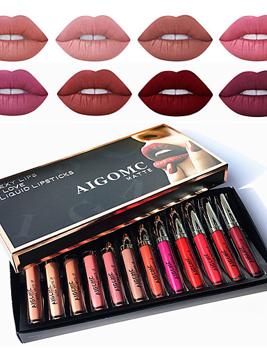 bestselgende matte flytende leppestift sett 12 farger sexy fuktighetsgivende lip gloss kvinnelig sminke