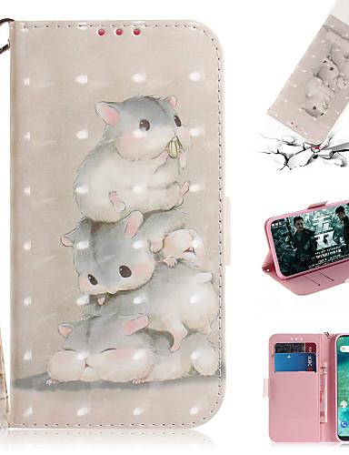 Capinha Para Xiaomi Xiaomi Pocophone F1 / Xiaomi Redmi 6 Pro / Xiaomi Redmi 7 Carteira / Porta-Cartão / Com Suporte Capa Proteção Completa Animal / Desenhos 3D PU Leather