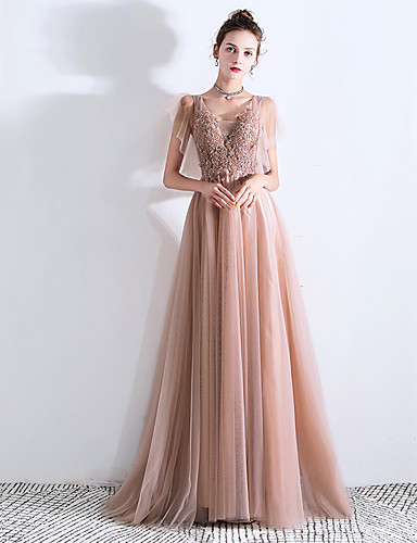 5c7433268eb0e [$134.99] A-Line V Neck Sweep / Brush Train Tulle Prom Dress with Sequin /  Appliques by LAN TING Express