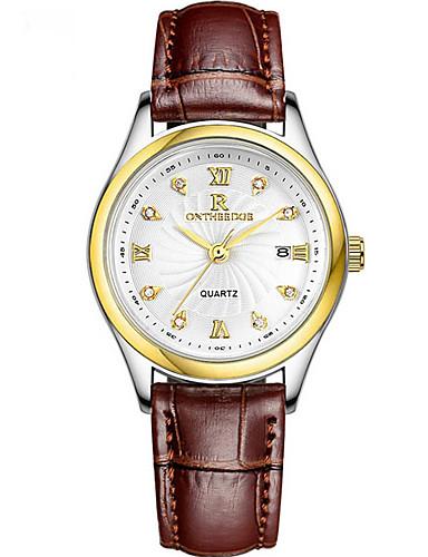 Mulheres Relógio Elegante Quartzo Couro Legitimo Impermeável Analógico Minimalista - Preto Branco Vermelho