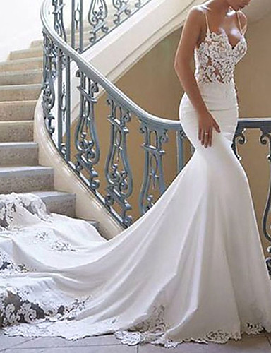 cheap Wedding Dresses-Mermaid / Trumpet Wedding Dresses Sweetheart Neckline Court Train Lace Stretch Satin Spaghetti Strap Sexy with Lace Appliques 2020