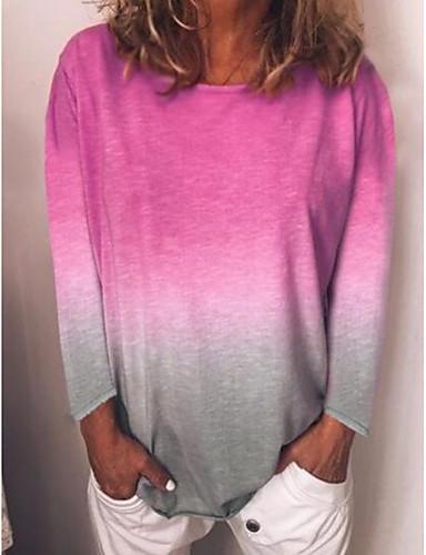 billige T-skjorter til damer-T-skjorte Dame - Fargeblokk Lyseblå
