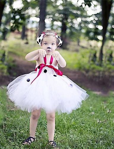 Παιδιά Νήπιο Κοριτσίστικα Ενεργό χαριτωμένο στυλ Άσπρο Πουά Ζώο Εξώπλατο Δίχτυ Patchwork Αμάνικο Ως το Γόνατο Φόρεμα Λευκό