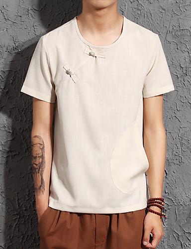 voordelige Heren T-shirts & tanktops-Heren T-shirt Linnen Effen Ronde hals Licht Blauw / Korte mouw