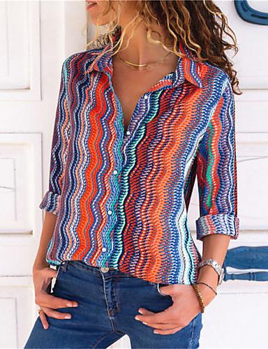 billige Skjorter til damer-Bomull Løstsittende Skjortekrage Skjorte Dame - Stripet Grunnleggende / Elegant Ut på byen Blå