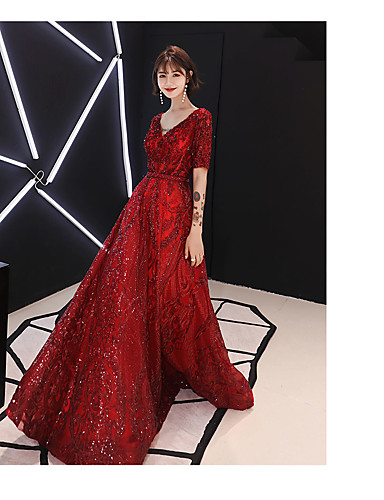 cheap Prom Dresses-A-Line Sparkle Red Engagement Formal Evening Dress V Neck Half Sleeve Floor Length Satin Sequined with Beading Sequin 2020