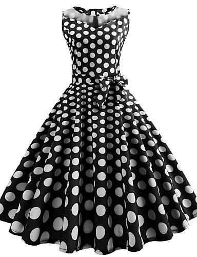 Γυναικεία Βίντατζ Κομψό στυλ street Λεπτό Σιφόν Φόρεμα - Πουά, Στάμπα Μίντι