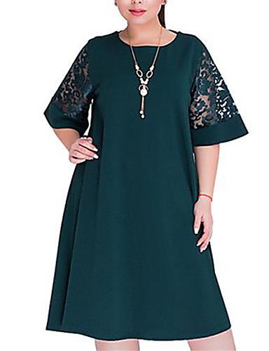 levne Šaty velkých velikostí-Dámské Větší velikosti Základní Volné A Line Šaty - Jednobarevné, Krajka Délka ke kolenům
