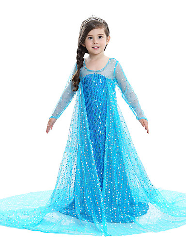 cheap Cosplay & Costumes-Princess Elsa Dress Flower Girl Dress Girls' Movie Cosplay A-Line Slip Pattern Dress Pink / Blue / White Dress Children's Day Masquerade Sequin Cotton Voile