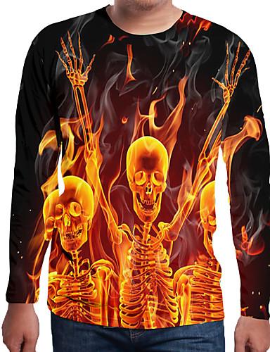 voordelige Heren T-shirts & tanktops-Heren Print EU / VS maat - T-shirt Effen / 3D / Doodskoppen Ronde hals Oranje / Lange mouw