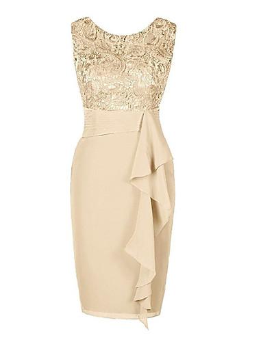 billige Trendy kjoler-Dame Store størrelser Grunnleggende Tynn Kroppstett Kjole Skjede Kjole - Ensfarget Knelang