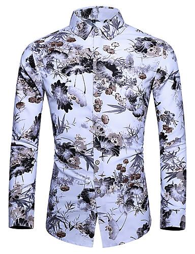 Homens Camisa Social Básico Floral Branco