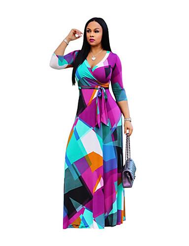 voordelige Maxi-jurken-Dames Wijd uitlopend Jurk - Geometrisch Midi