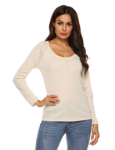 billige Dametopper-T-skjorte Dame - Ensfarget, Utskjæring Grunnleggende Blå