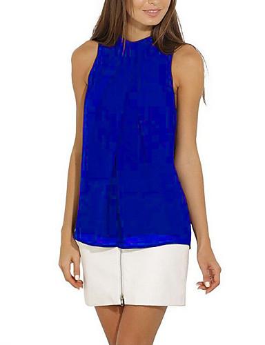 billige Dametopper-Bluse Dame - Ensfarget, Lapper Grunnleggende / Gatemote Navyblå