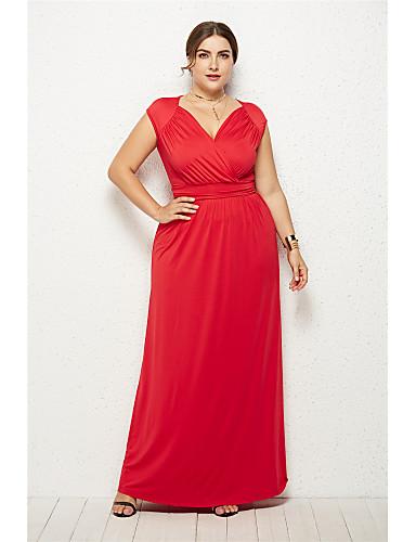 voordelige Grote maten jurken-Dames Elegant Wijd uitlopend Jurk - Effen Maxi