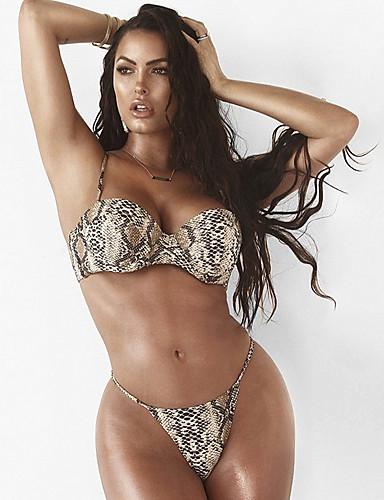 billige Bikinier og damemote-Dame Sporty Grunnleggende Kamel Trekant G-streng Bikinikjole Badetøy - Leopard Åpen rygg S M L Kamel