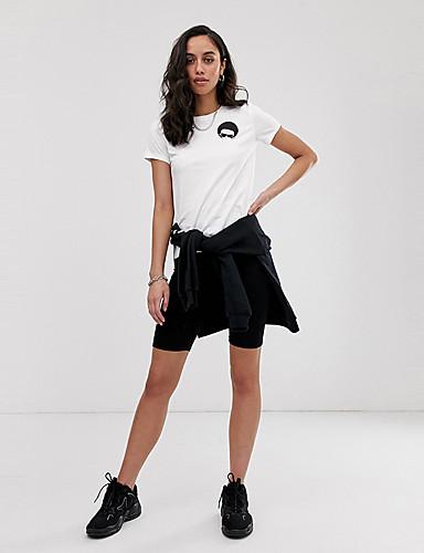 billige Dametopper-Løstsittende T-skjorte Dame - Tegneserie, Trykt mønster Grunnleggende Hvit