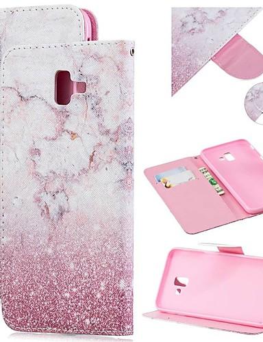 Capinha Para Samsung Galaxy J8 (2018) / J7 (2017) / J6 (2018) Carteira / Porta-Cartão / Antichoque Capa Proteção Completa Mármore PU Leather
