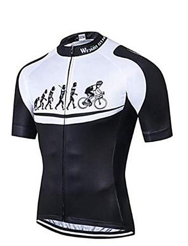 povoljno Odjeća za vožnju biciklom-21Grams Evolucija Muškarci Kratkih rukava Biciklistička majica - Red / White Bicikl Biciklistička majica Majice Prozračnost Ovlaživanje Quick dry Sportski Poliester Elastan Terilen Brdski biciklizam