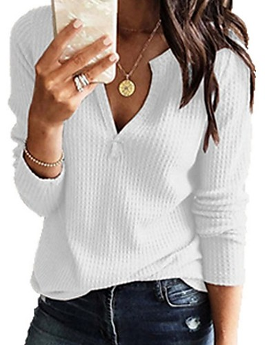 cheap Women's Tops-Women's Casual / Basic Knitting Solid Colored Long Sleeve Pullover Sweater Jumper, V Neck Spring / Fall Black / White / Blushing Pink S / M / L