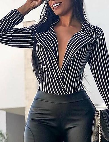 billige Dametopper-Skjortekrage Skjorte Dame - Stripet Hvit