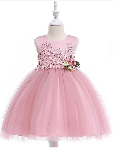 Prinsesse Knelang Blomsterpikekjole - Bomull / Polyester / Tyll Ermeløs Besmykket med Appliqué / Perledetaljer