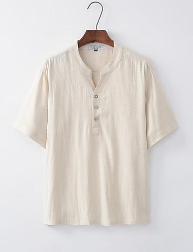 voordelige Heren T-shirts & tanktops-Heren Standaard / Chinoiserie T-shirt Linnen Effen V-hals Beige / Korte mouw