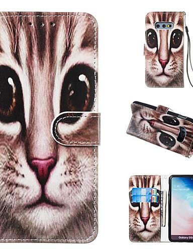 Etui Til Samsung Galaxy S9 / S9 Plus / S8 Plus Lommebok / Kortholder / med stativ Heldekkende etui Katt Hard PU Leather