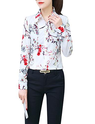 billige Skjorter til damer-Skjortekrage Store størrelser Skjorte Dame - Blomstret, Trykt mønster Grunnleggende Gul